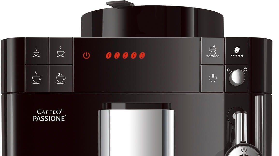 Automatikus kávéfőző Melitta Passione Fekete aroma safe extrakciós rendszer bean to cup 2 csésze egyszerre állítható fúvókamagasság kompakt méretek párafúvóka a tej habosításához