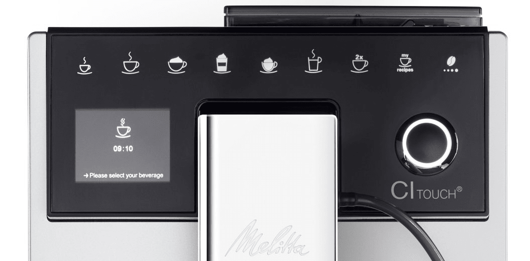 Automatický kávovar Melitta CI Touch Stříbrná bean select 2 šálky najednou nastavitelná výška trysky kompaktní rozměry parní tryska pro napěnění mléka