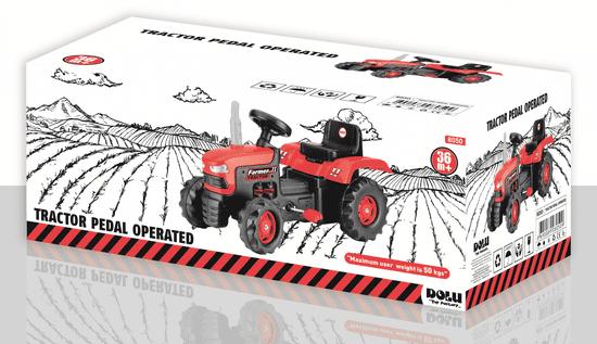 DOLU velik traktor na pedala, rdeč
