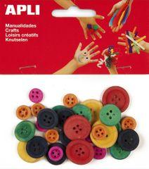 Knoflíky dřevěné APLI barevný mix průměr 11, 18 a 21 mm/30 ks