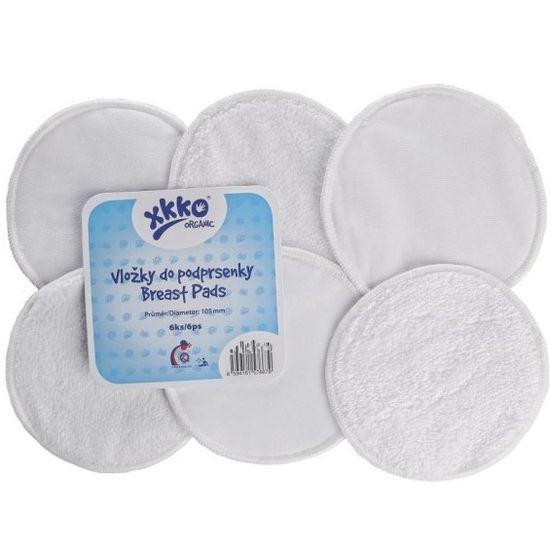 XKKO Froté vložky do podprsenky Organic, Bílá (6ks)