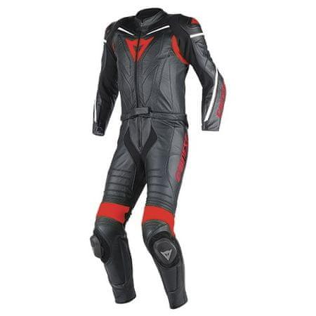 Dainese pánska motocyklová kombinéza-dvojdielna  LAGUNA SECA D1 div.  čierna/čierna/červená, koža
