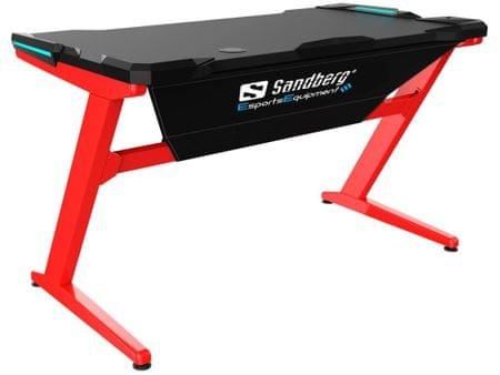 Sandberg stół gamingowy Fighter Gaming Desk - czerwony