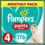 1 - Pampers Plenkové kalhotky Pants 4 Měsíční balení 9-15kg, 176 ks