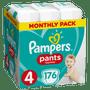 2 - Pampers Plienkové nohavičky Pants 4 Mesačné balenie 9-15 kg, 176 ks