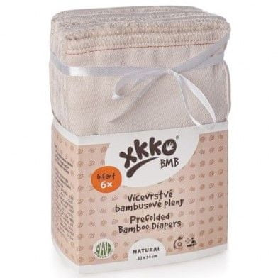 XKKO Wielowarstwowe pieluszki bambusowe Natural, Infant (6 szt.)