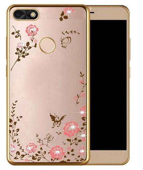 Silikonski ovitek z rožicami za Huawei P9 Lite Mini, zlat