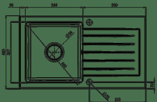 Deante komplet pomivalno korito Zorba in kuhinjska armatura ZQZV 2113, grafit - Odprta embalaža
