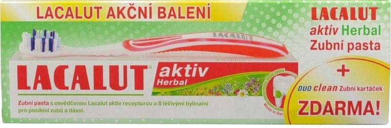 Lacalut Aktiv Herbal zubní pasta 75 ml + zubní kartáček