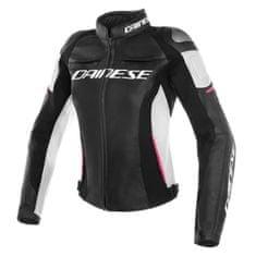 Dainese RACING 3 LADY dámska kožená bunda na motorku, čierna/biela/ružová