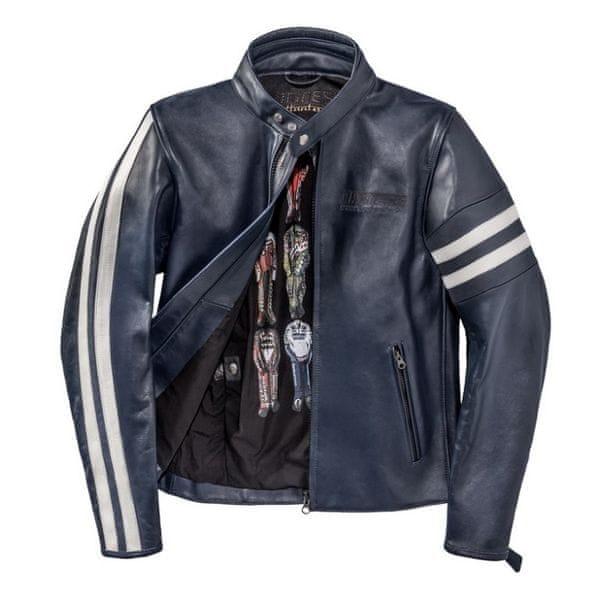 Dainese bunda FRECCIA72 (Settantadue) vel.48 tmavě modrá/bílá, kůže