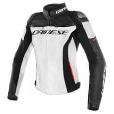 Dainese RACING 3 LADY dámska kožená bunda na motorku, biela/čierna/červená