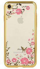 Silikonski ovitek z rožicami za iPhone X, zlat