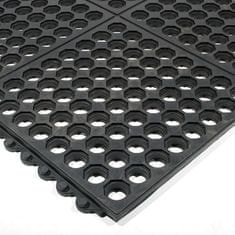 Černá gumová protiskluzová protiúnavová průmyslová modulární rohož Fatigue - 90 x 90 x 1,6 cm