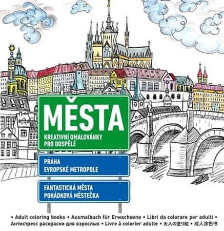 Města - Kreativní omalovánky pro dospělé