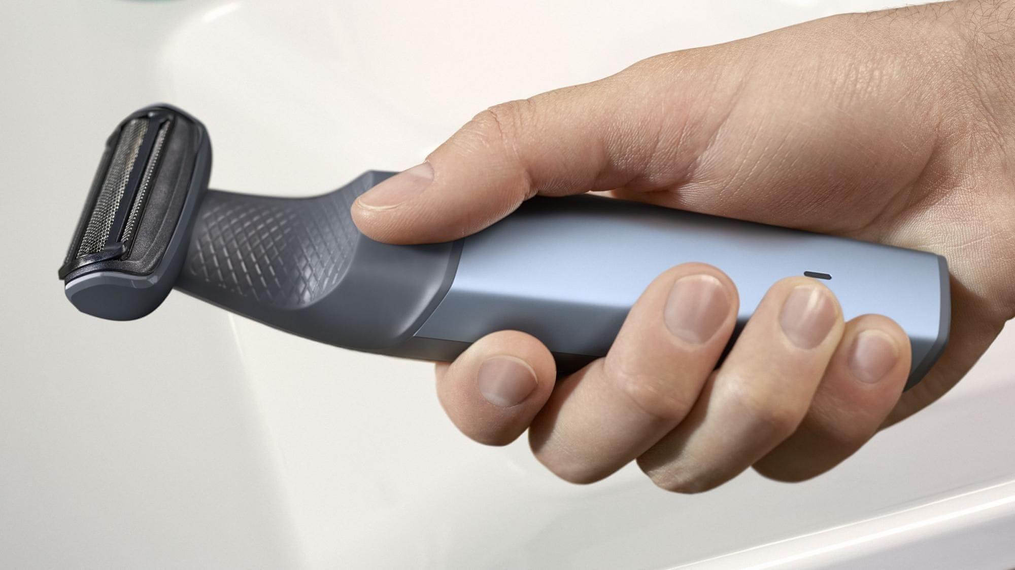 voděodolný Zastřihovač Philips BG3015/15 ergonomická rukojeť pevný úchop maximální kontrola nad strojkem