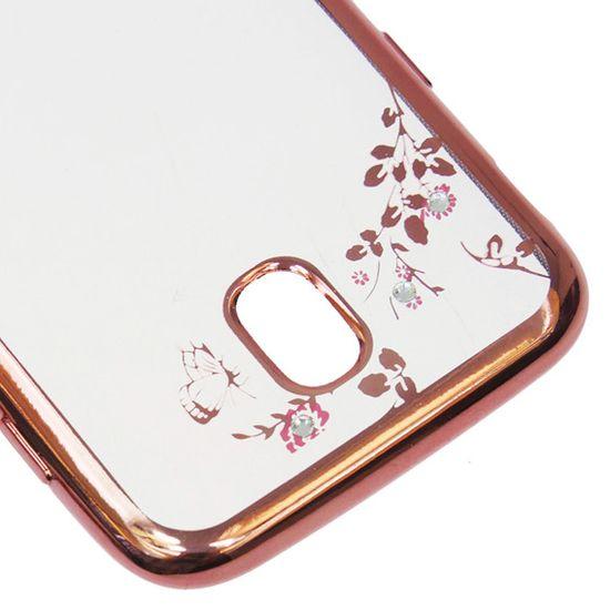 Silikonski ovitek z rožicami za Samsung Galaxy J3 2017, roza