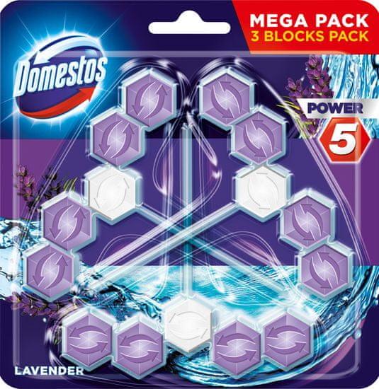 Domestos Power 5 Lavender kemény WC blokk 3 x 55 g