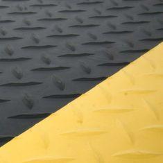 Černo-žlutá gumová protiúnavová průmyslová laminovaná rohož - 1,4 cm