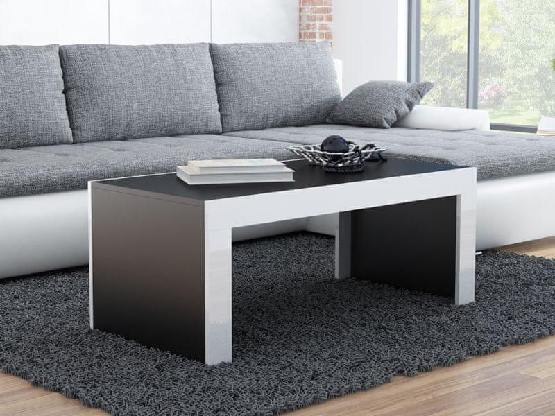 Konferenční stolek TESS, černý mat/bílý lesk