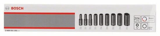 Bosch 9-dijelni komplet nasadnih ključeva, 1/2 (2608551101)