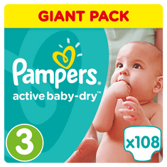 Pampers Pleny Active Baby 3 Midi (4-9kg) Giant Box -108ks