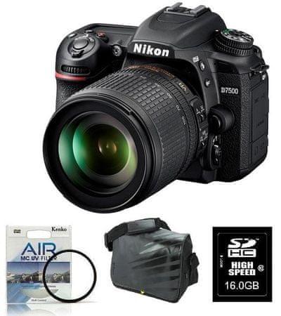 Nikon digitalni zrcalnofleksni fotoaparat D-7500 + 18-105VR + Fatbox + filter