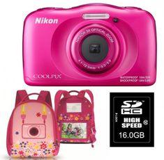 Nikon digitalni fotoaparat Coolpix W100, roza + SD16GB + nahrbtnik