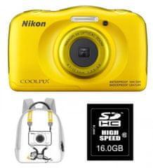 Nikon digitalni fotoaparat Coolpix W100, rumen + SD16GB + nahrbtnik