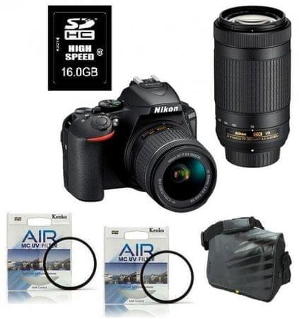 Nikon D5600 + 18-55VR + 70-300VR + Fatbox + filtra