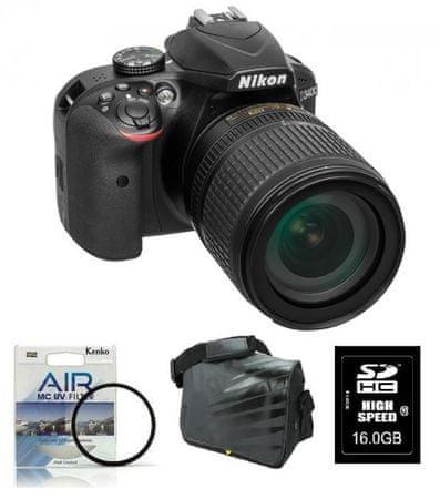 Nikon digitalni DSLR fotoaparat D3400kit z 18-105VR+FATBOX+FILTER
