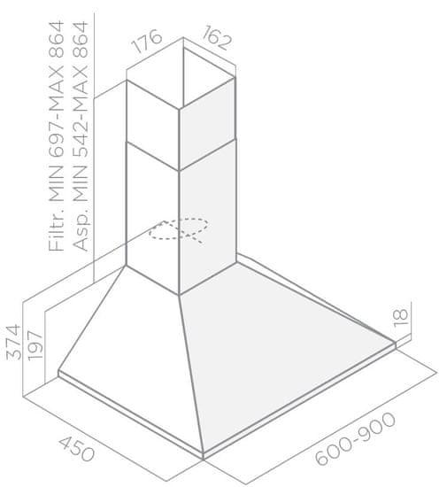 Elica okap kominowy Missy LX WH/A/60
