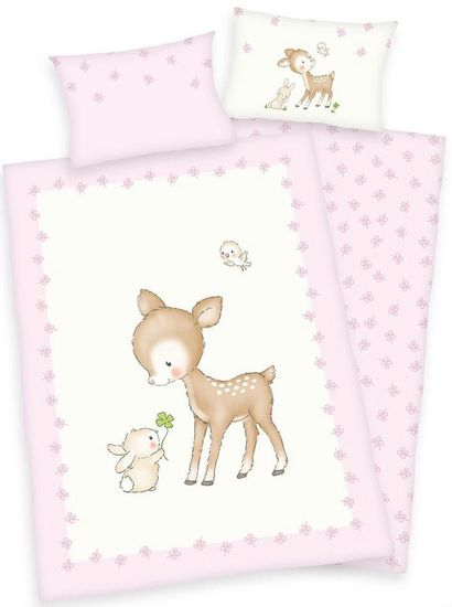 Herding otroška posteljnina s podobo bambija in zajčka