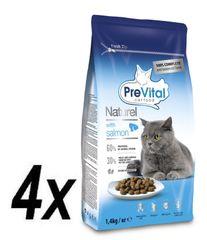 PreVital Naturel granuly pre mačky losos 4 x 1,4kg