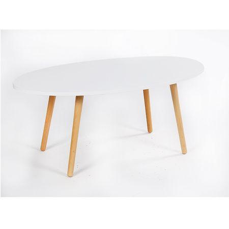 Konferenčný stolík, biela/natural, BAZZY 1