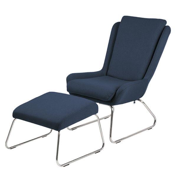 Design Scandinavia Relaxační křeslo s podnožkou Kristen, modrá