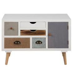 Design Scandinavia Komoda s 5 zásuvkami a dverami Thess, 81 cm