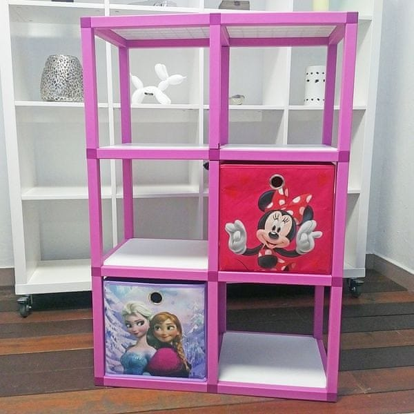 Dětský regál MODlife 6 + 2 úložné boxy Minnie Mouse C