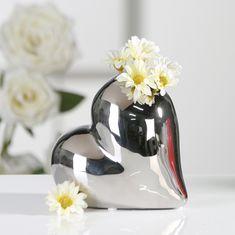 Papillon Váza keramická Lovely, 13 cm, stříbrná