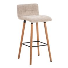 BHM Germany Barová židle s dřevěnou podnoží Connie, krémová
