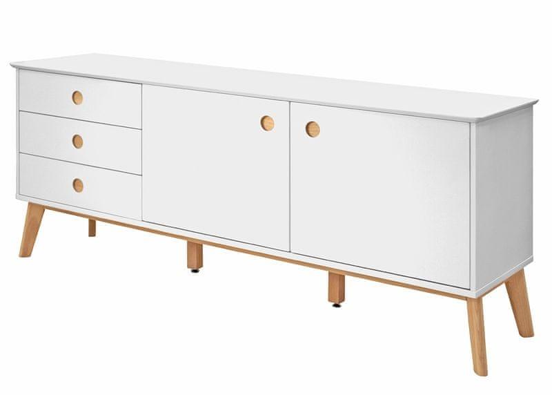 Danish Style Kombinovaná skříň / komoda Milenium, 180 cm, bílá/dub
