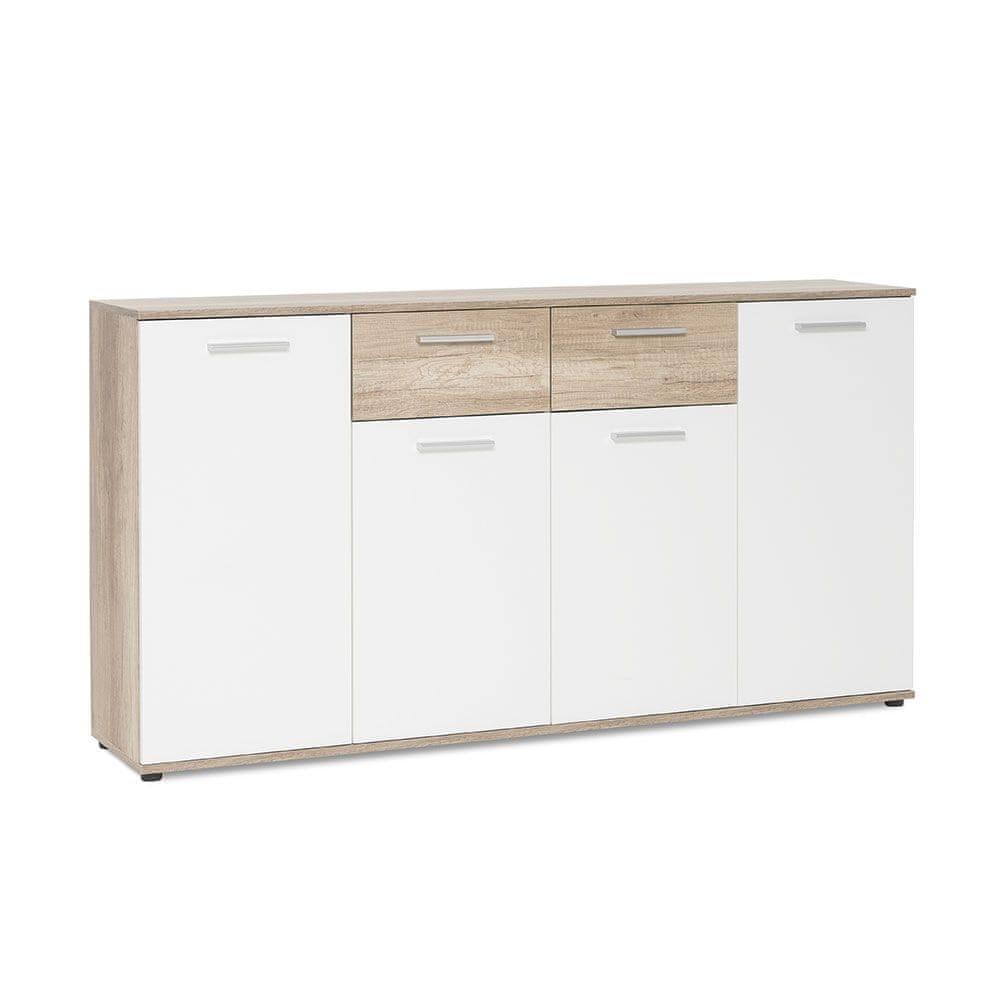 FARELA Kombinovaná skříň Emelie, 160 cm, divoký dub/bílá