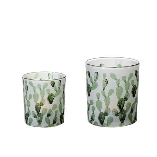 Papillon Čajový svietnik sklenený Kaktus, 10 cm