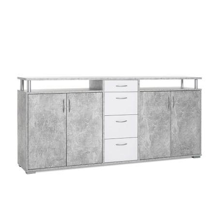 FARELA Odkládací / kombinovaná skříň Heavy, 208 cm, beton/bílá