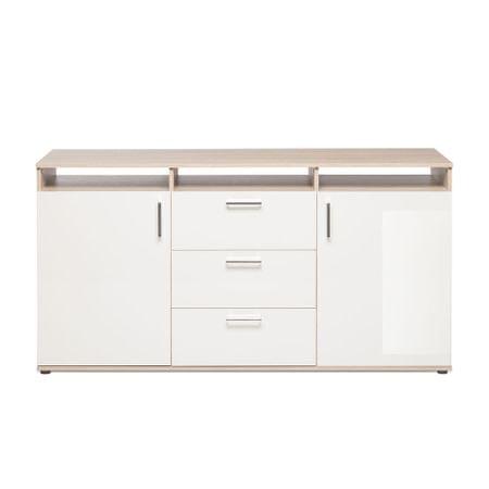 FARELA Odkládací / kombinovaná skříň River, 160 cm, dub/bílá
