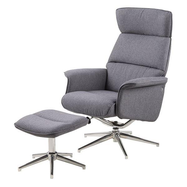 Design Scandinavia Relaxační křeslo s podnožkou Calmeo, šedá