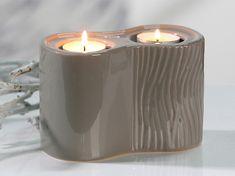 Papillon Čajový svícen pro 2 svíčky Carving, šedohnědá