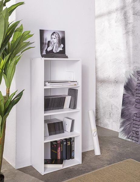 FARELA Policový regál / knihovna Dakota, 106 cm, bílá