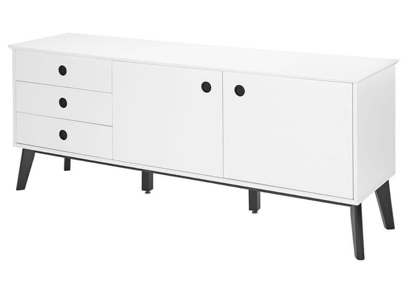 Danish Style Kombinovaná skříň / komoda Milenium, 180 cm, bílá/černá