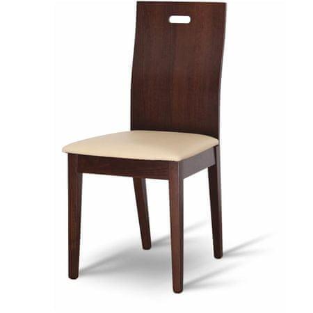 Drevená stolička ABRIL, orech/ekokoža béžová